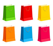 Set of colorful gift or shopping bags. Vector illustration. Vector set of colorful gift or shopping paper bags isolated on a white background Stock Image
