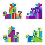Set of colorful gifts Stock Images