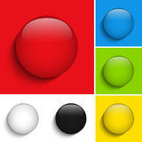 Set of Colorful Glass Circle Shiny Buttons Stock Photography