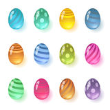 Set of colorful glass eggs, gems. Isolated on white background. Stock Photo
