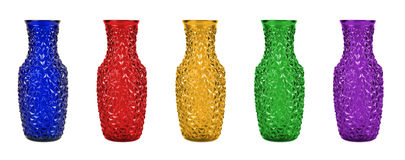 Set of colorful glass vases Royalty Free Stock Photos