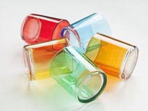 Set of colorful glasses on white background Royalty Free Stock Photos