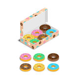 Set of colorful glazed donuts. Vector illustration. Set of colorful glazed donuts, with pastry powder, in a box. Icons. Isometric, 3D Stock Photos