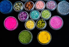 Set of colorful glitter make up Stock Images