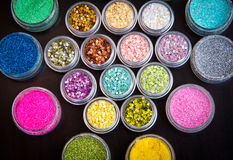 Set of colorful glitter make up Stock Image