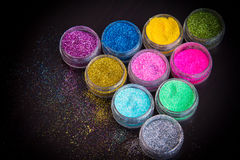Set of colorful glitter make up Stock Photos