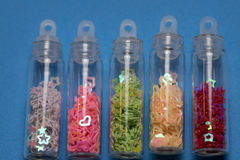 Set of colorful glitters Stock Image
