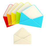 Set of colorful glossy blank envelopes isolated Stock Photography