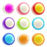 Set of colorful glossy button templates isolated. Set of colorful round glossy button templates isolated on white vector illustration