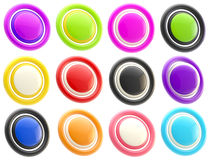 Set of colorful glossy button templates isolated Royalty Free Stock Image