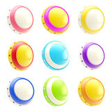 Set of colorful glossy button templates isolated Stock Photo