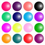 Set of colorful glossy spheres isolated on white. Vector illustration for your design. royalty free illustration