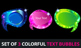 Set of colorful glowing textboxes Royalty Free Stock Photography