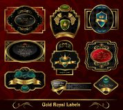 Set Colorful Gold-framed Labels Royalty Free Stock Images