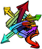 Set of colorful graffiti arrows Royalty Free Stock Photos