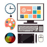 Set of colorful graphic, web design icons Royalty Free Stock Image