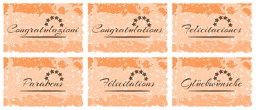 Set of colorful greeting card with word congratulations Royalty Free Stock Photography
