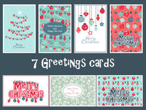 Set of  colorful greetings cards for Merry Christmas with balls, tree, flower, garlands, text Stock Images