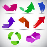 Set of colorful grunge arrows Royalty Free Stock Photos