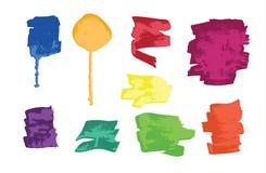 Set of colorful grunge brush strokes and splashes Stock Photo