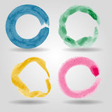 Set of colorful grunge circle strokes for frames, icons, d Royalty Free Stock Image