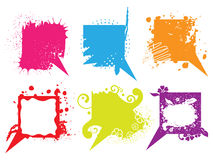 Set of colorful grunge speech bubbles Royalty Free Stock Photo