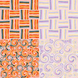 Set of colorful grunge striped and swirled seamles Stock Photo