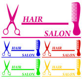 Set colorful hair salon symbols Stock Images