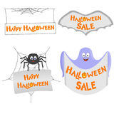 Set of Colorful Halloween Icons with Congratulations. Vector Illustration stock illustration