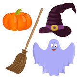Set of colorful halloween icons. Vector illustration royalty free illustration