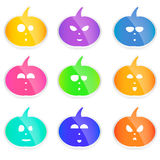 Set of colorful  Halloween pumpkins, cute and funny little faces, Royalty Free Stock Image