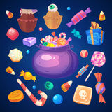Set of colorful halloween sweets and candies icons Royalty Free Stock Image