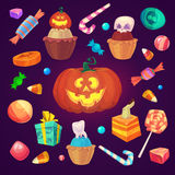 Set of colorful halloween sweets and candies icons Stock Photography