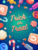 Set of colorful halloween sweets and candies icons Stock Photos