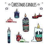 Set of colorful hand-drawn doodle Christmas candles Stock Image