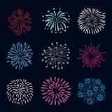 Set of colorful hand drawn fireworks  on dark background. Set of colorful doodle hand drawn fireworks  on dark background Stock Photo