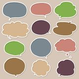 Set of Colorful Hand Drawn Speech and Thought Bubbles. Colorful speech and thought bubbles doodle collection stock illustration