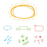 Set of colorful hand-drawn vector borders, frames and design elements
