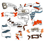 Set of colorful hand drawn vintage ribbon  banners. Doodle. Web Design Elements. Stock Photo