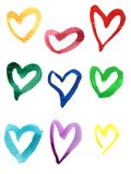 Set of colorful hand drawn watercolor hearts. Isolated on white vector illustration