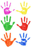 Set of colorful hand prints isolated Royalty Free Stock Images
