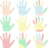 Set of colorful hand prints isolated on white. Set of colorful hand prints Vector isolated on white Royalty Free Stock Photography