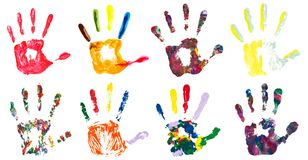 Set of colorful hand prints. Isolated on white background. Collection of color art hand painted Stock Images