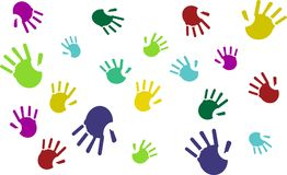 Set of colorful hand prints isolated on white background. Vector vector illustration