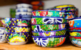 Set of colorful handmade dishes Royalty Free Stock Photo