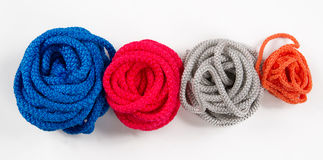 Set of colorful hanks of rope Royalty Free Stock Photos