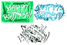 Set of colorful Happy birthday greeting card Stock Photography