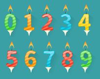 Set of colorful happy birthday number candles. Collection of birthday number candles numbered from number 0 to number 9 Royalty Free Stock Photos