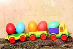 Set of colorful happy easter handmade eggs with children locomotive Royalty Free Stock Photo