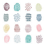 Set of 16 colorful hatching hand drawn Stock Photography